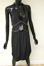 Morgan De Toi womens riboulin black alterneck waist fitted dress size 10