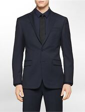 calvin klein mens body slim fit navy check wool suit jacket