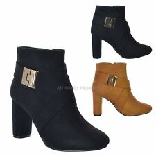 WOMENS LADIES MID HIGH SLIM BLOCK HEEL CHELSEA ANKLE ZIP STRAP BOOTS SHOES SIZE