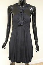Morgan De Toi womens matram black bubble halterneck rope cut out detail dress