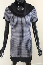 Morgan De Toi womens didon roll neck black/grey short sleeve jumper dress top