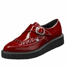 T.U.K. Shoes Womens Burgundy Patent Monk Buckle Pointed Creeper