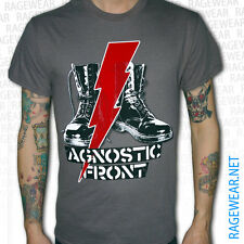 "AGNOSTIC FRONT ""BLITZ BOOTS"", T-Shirt, CHARCOAL Hardcore Sick of it All NYHC"