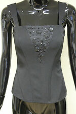 Morgan De Toi womens bledi black corset boned jewel zip back top sizes XS - L