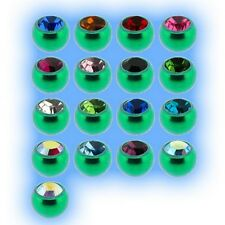 Green Titanium Jewelled Ball 1.2mm 16g Choose Gem Colour Size 3mm 4mm Grade 23