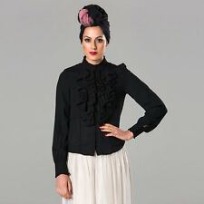 Long Sleeved Ruffled Front Blouse - Black