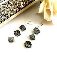 Sterling Silver Dangley Earrings Made with Swarovski Elements Diagonal Cube