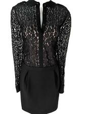 Karen Millen Black Leopard Lace Shift Shirt Party DRESS Size UK 14 EU 40 US 10