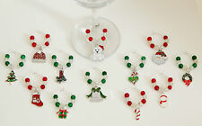 SETS OF 6 0R 12 CHRISTMAS WINE GLASS CHARMS CHRISTMAS TABLE DECORATION STOCKING