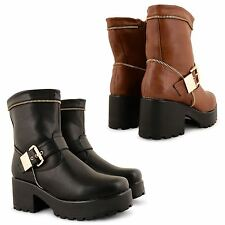 NEW WOMENS LADIES PLATFORM CHUNKY CLEATED SOLE ANKLE PUNK GOTHIC BOOTS SHOES