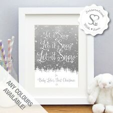 Personalised Let it Snow Family Couples Babies first Christmas Print or Frame