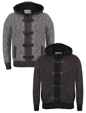 New Mens Dissident Mike Hooded Fleeced Knitted Zip Toggle Cardigan Hoodie S-XL