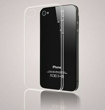 PREMIUM ULTRA TRANSPARENT BACK CASE COVER TPU For IPHONE 4 TEMPERED GLASS