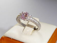 Ladies Art Deco Design Sterling 925 Silver White & Pink Sapphire Cocktail Ring
