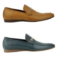 New Mens Faux Leather Tan Blue Smart Slip on Horse bit Loafer Shoes UK Size 6 11
