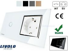 INTERRUPTOR + ENCHUFE LUZ PARED CRISTAL TACTIL EU LIVOLO Touch Switch + Socket