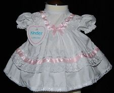 Baby Girls Diamante Bow Lace & Ribbon Frilly Dress Newborn 0-3 Month