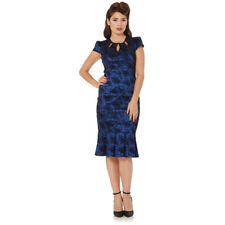 Voodoo Vixen Correna Art Deco Swan Flocked Pencil Dress Blue Retro Vintage