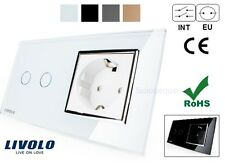 INTERRUPTOR DOBLE + ENCHUFE LUZ TACTIL EU LIVOLO Touch Switch 2 gang + Socket