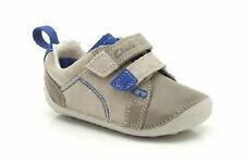 Clarks Tiny Soft Infant Kids UK 2 to 3 Sand & Blue Leather Prewalker First Shoes