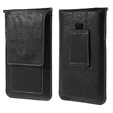 "5.5/5.7"" MOBILE PHONE VERTICAL CARD SLOT BELT LOOP LEATHER POUCH CASE COVER SKIN"