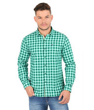 Oxemberg Full Sleeves Checks 100% Cotton Slim Fit Green Shirt