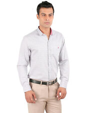 JHAMPSTEAD Full Sleeves Plain 100% Cotton Slim Fit Stone Shirt