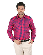 Oxemberg Full Sleeves Checks PC Slim Fit Red Shirt