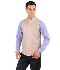 JHAMPSTEAD Sleeve Less Sleeves Plain TR Slim Fit Beige Bandi