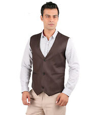 JHAMPSTEAD Sleeve Less Sleeves Plain TR Slim Fit Brown Waist Coat