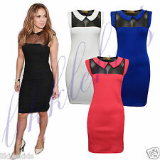 Women's Celebrity Inspired Peter Pan collar Mesh Insert Panel Bodycon Mini Dress
