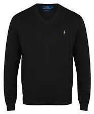 Ralph Lauren V-Neck Jumper Polo Mens 100% Pima Cotton Black Sweater New