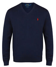 Ralph Lauren V-Neck Jumper Polo Mens 100% Pima Cotton Navy Sweater New