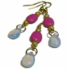 Gorgeous Pink Stone and Opalite Bead Earring & Pendant Set