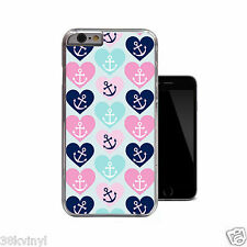 Nautical Hearts Anchor Hipster Pink Blue Cute Case For iPhone 4 4s 5 5s 5c 6
