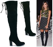 NEW WOMENS OVER THE KNEE THIGH HIGH DRAWSTRING STRETCH MID HIGH HEEL BOOTS