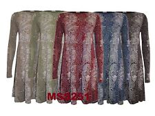 New Ladies Long Sleeve Snake Print Women Flared Skater Swing Dress Top Size 8-26
