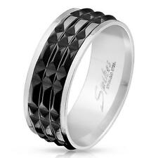 AF Anillo de plata 8mm ancho Acero inoxidable Spike Inlay 60 (19) - 69 (22)