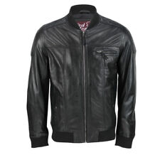 NEW Mens Real Leather Black Biker Jacket Slim Fit Vintage Zip Retro Bomber Style
