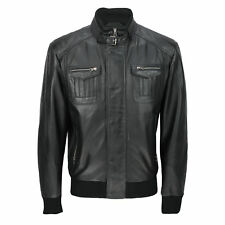 Mens New Black Real Soft Lamb Leather Retro Biker Style Zipped Bomber Jacket