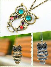 Vintage Retro Rhinestone Women Antique Long Chain Owl Pendant Necklace Jewellery