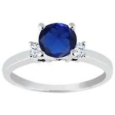 1.28 Ct Round Blue Simulated Sapphire White Topaz 925 Sterling Silver Ring