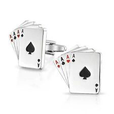 Mens Pair of Novelty Playing Cards Cufflinks Poker Ace Gamble Texas Holdem