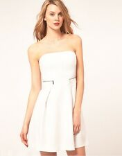 New Womens KAREN MILLEN White Tailored Strapless Dress Skater Cocktail Party