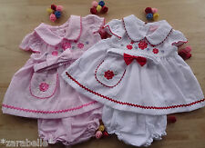 3 pcs Traditional Embroidered Baby White Pink Bow Dress Pants Headband 0-3-6-9 m