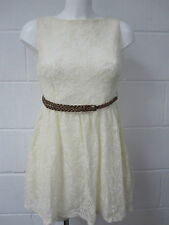 NEW LADIES GIRLS LACED CREAM SKATER DRESS WITH WEAVED BELT
