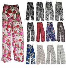 NEW WOMEN LADIES FLORAL PRINT PALAZZO TROUSERS SUMMER WIDE LEG PANTS SIZE 8-14