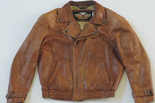 Harley Davidson Men's 80's Brown Taking It To The Streets Leather Jacket Rare M