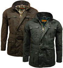 New Mens Game Continental Belted Biker Wax Motorcycle Jacket