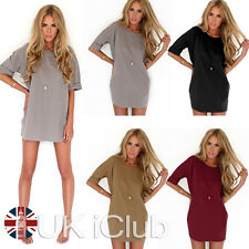 UK Womens Tops Ladies Chiffon Shirt Blouse Short Sleeve Mini Dress Casual Loose